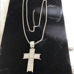 NEWA mens bulk thick silver cross pendant